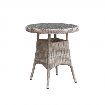 Eden Rattan 2 Seater Bistro Table in Chic Walnut with Granite Effect Glass